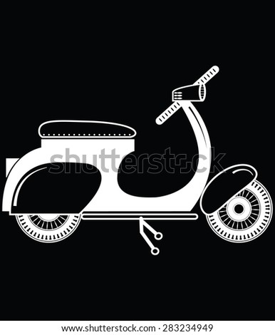Vintage scooter type 2 in black and white on black background   - stock vector