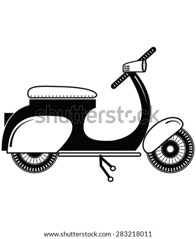 Vintage scooter type 2 in black and white on white background   - stock vector