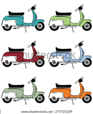 Vintage scooters icons set  - stock vector