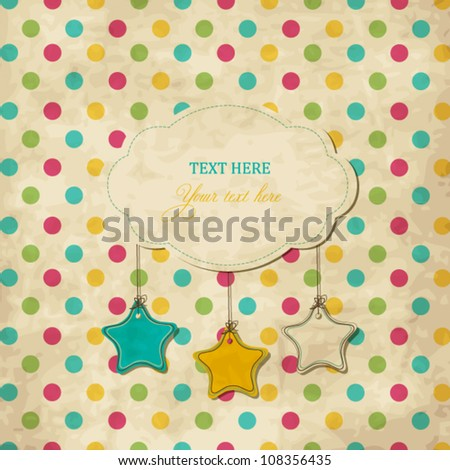 Vintage scrap card with frame and stars on polka dot background