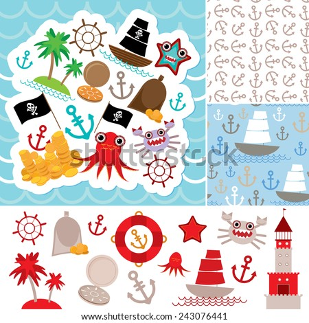 Vintage scrap nautical card and seamless pattern with sea animals, boats pirates. cute sea objects collection. Vector illustration