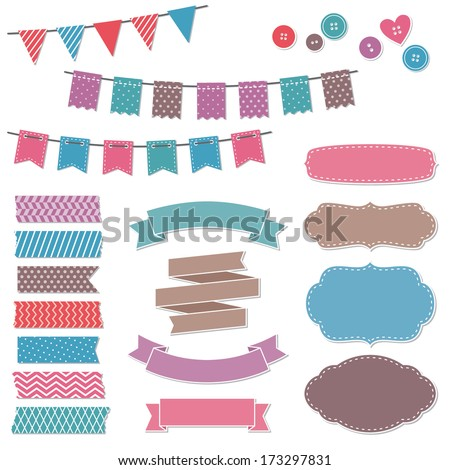 Vintage scrapbook elements, frames, flags, stickers, ribbons, banners - stock vector