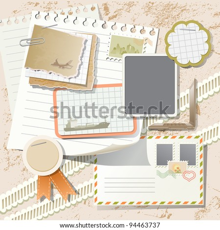 Vintage scrapbook elements on tourism and post - stock vector