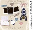 Vintage scrapbook elements set. Vector illustration EPS10. - stock vector