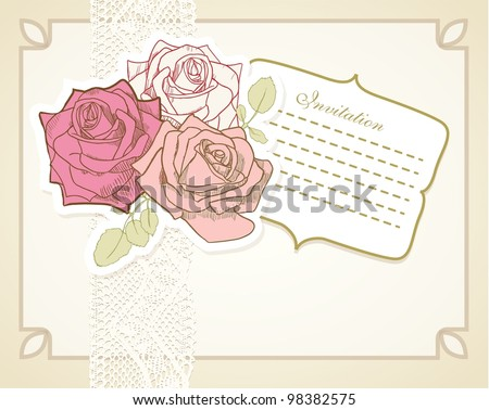 Vintage scrapbook set of roses, frame and lace line in pastel colors. - stock vector