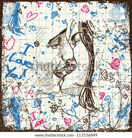 Vintage scratched background with kissing boy and girl. - stock vector
