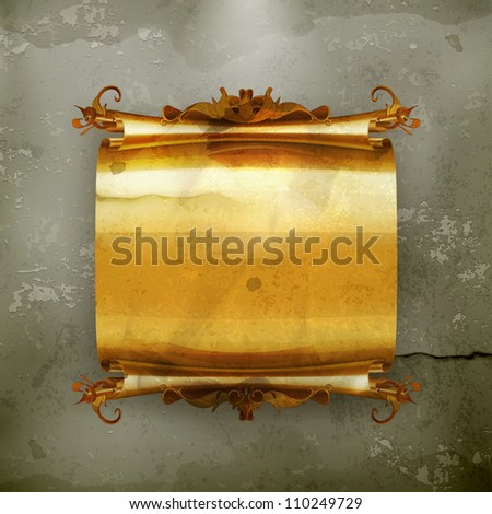 Vintage scroll, old-style vector - stock vector