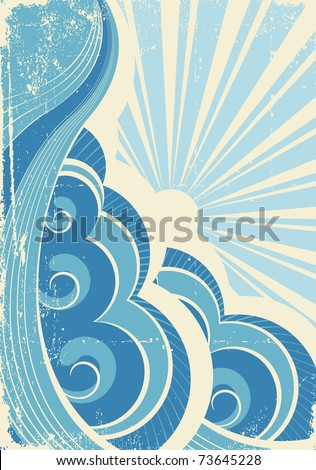 Vintage sea waves and sun. Vector illustration of sea landscape - stock vector