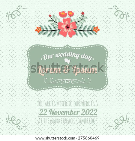 Vintage seafoam green wedding invitation card template - stock vector