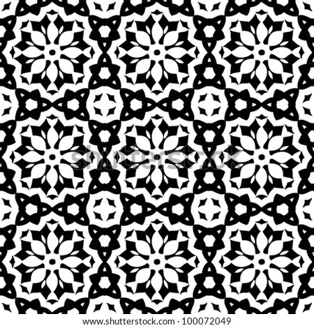 Vintage seamless abstract ornate black and white pattern background vector illustration - stock vector