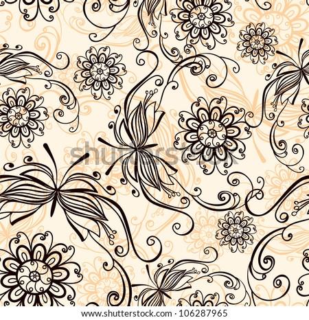 Vintage seamless background - stock vector