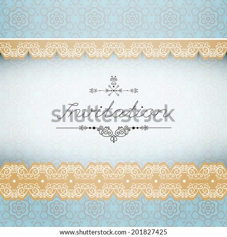 Vintage seamless background and border, invitation with lace, vector - stock vector