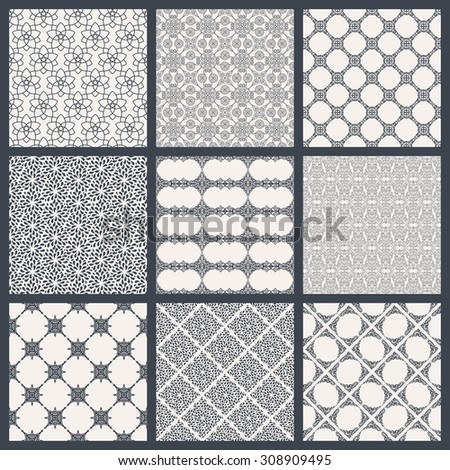 Vintage seamless background set in oriental style. Black and white monochrome wallpapers. Patterns for design. Traditional eastern decor