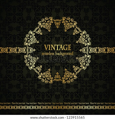 Vintage seamless background with an elegant lace frame in retro style - stock vector