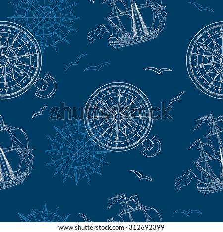 Vintage seamless background with compass, ship and gulls on blue - stock vector