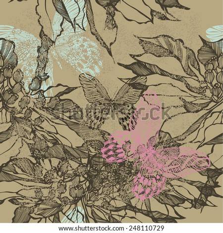 Vintage seamless background with flowers and butterflies. Vector illustration. - stock vector