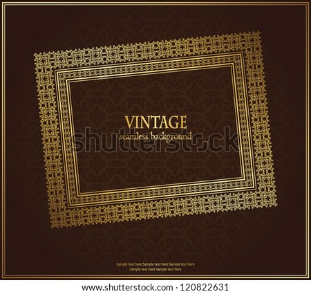 Vintage seamless background with frame in retro style