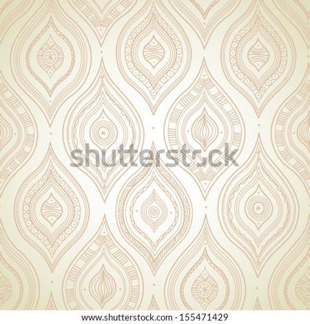 Vintage seamless background with lacy ornament. Ethnic decorative pattern. Background in rustic style - stock vector