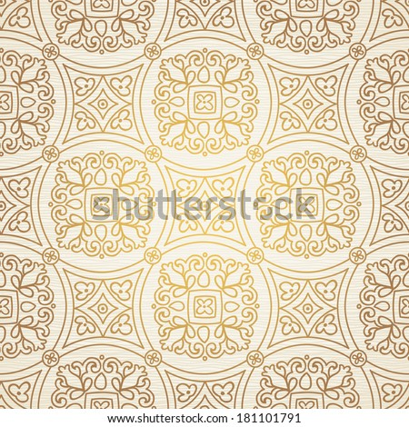 Vintage seamless background with lacy ornament. Ornament in east style. Light golden pattern. It can be used for wallpaper, pattern fills, web page background, surface textures, classic fabric. - stock vector