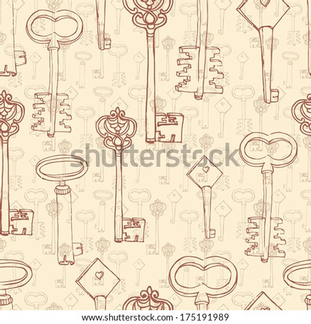 vintage seamless background with old keys