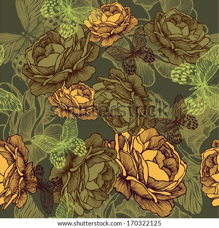 Vintage seamless background with roses and butterflies. Vector illustration. - stock vector