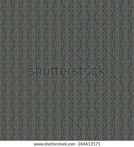 Vintage Seamless Blue Floral Pattern On A Brown Background - stock vector