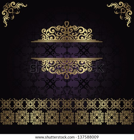 Vintage seamless damask background with a gold decoration - stock vector