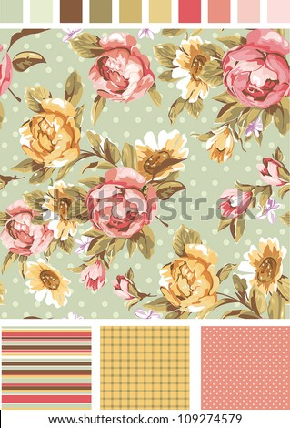 Vintage Seamless floral background, vector peony pattern. Use to create fabric projects or design elements for scrap booking, greeting cards, textiles. Elegance illustration. - stock vector