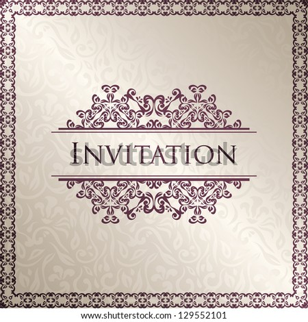 Vintage seamless floral background with frame. Can be used as invitation