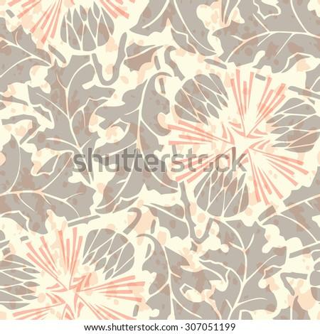 Vintage Seamless floral linen pattern. Raster version - stock vector