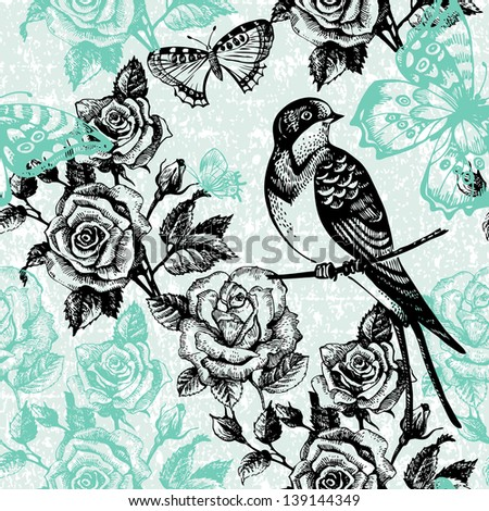 Vintage seamless floral pattern. Hand drawn illustration with bird and butterfly - stock vector