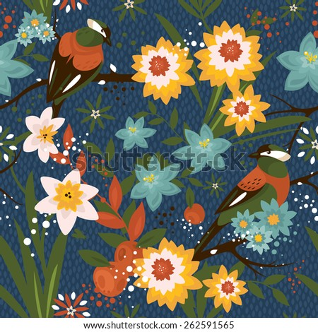 Vintage seamless floral pattern with birds vector illustration - stock vector
