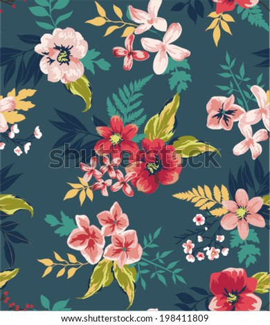 vintage seamless flower vector pattern background - stock vector