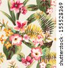 vintage seamless hand draw tropical flower - stock photo