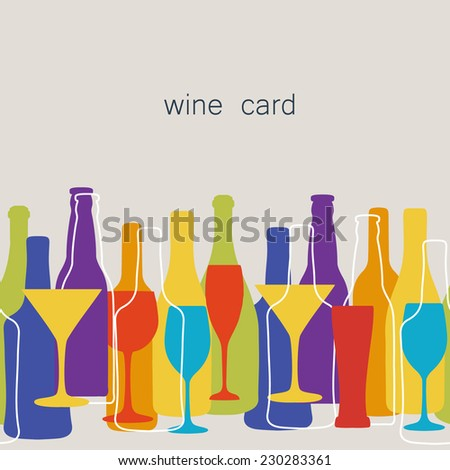 Vintage seamless pattern background for restaurant or cafe menu design. Wine, beer bottles and glasses silhouettes on different sizes and colors. - stock vector