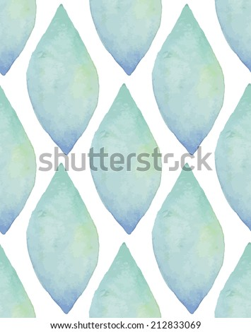 Vintage seamless pattern based on geometric shapes. Watercolor paint. Blue theme. - stock vector