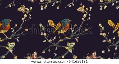 Vintage Seamless pattern: bird, butterfly and flower, leaf, branch, isolated on black background. Imitation embroidery. Hand drawn vector illustration, separated editable elements.