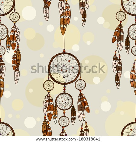 Vintage seamless pattern of American Indians dreamcatcher - stock vector
