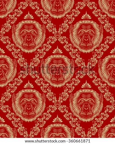 Vintage seamless pattern of repeating monkey head. Silver floral ornament on red background in antique style. - stock vector