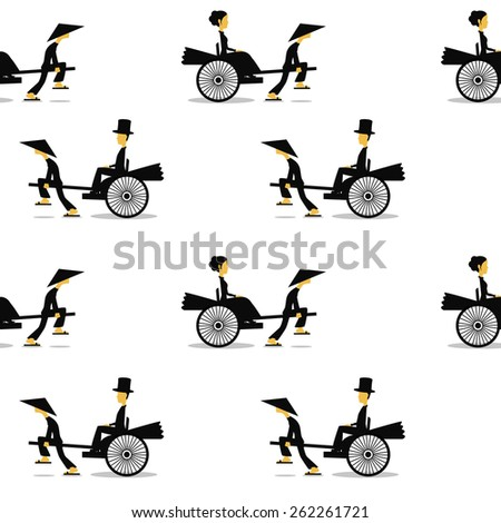 Vintage seamless pattern. Rickshaws are picking up a the passengers by a traditional asian transport.