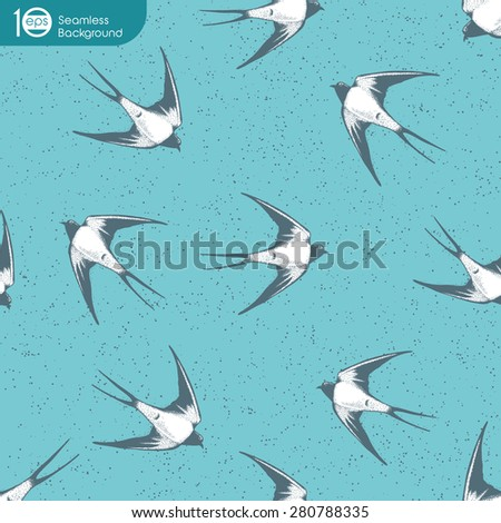 Vintage seamless pattern , Swallows in the clouds. - stock vector