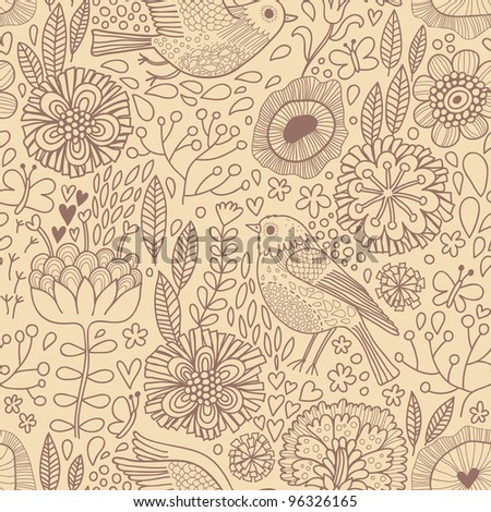 Vintage seamless pattern with birds and flowers - stock vector