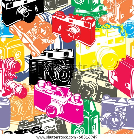 vintage seamless pattern with camera