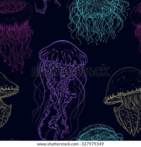 Vintage seamless pattern with collection of jellyfish. Hand drawn vector illustration of marine fauna in line art style. aDesign for summer beach, decorations. - stock vector