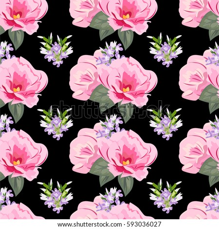 Vintage seamless pattern cute pink flowers stock vector 593036027 vintage seamless pattern with cute pink flowers hand drawn floral background for textile mightylinksfo
