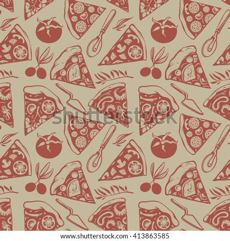Vintage Seamless Pattern with Cuts of Pizza, Tomatoes, Olives and Dishware - stock vector