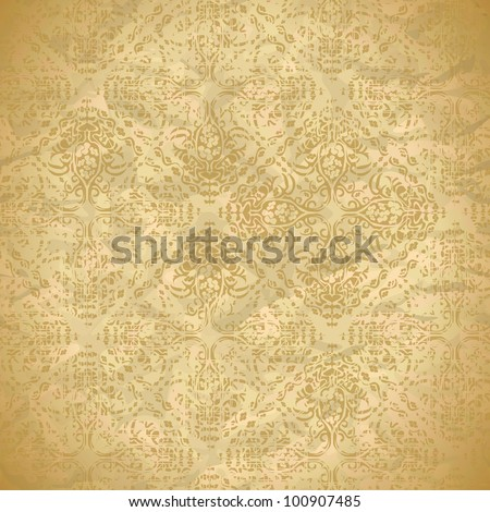 vintage seamless pattern with floral ornaments - stock vector