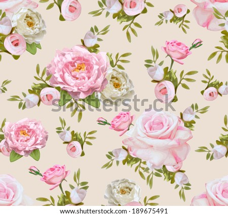 Vintage seamless pattern with flowers. Vector illustration for your design - stock vector
