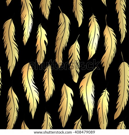 Vintage seamless pattern with hand-drawn feathers. Vector illustration in gold over black.