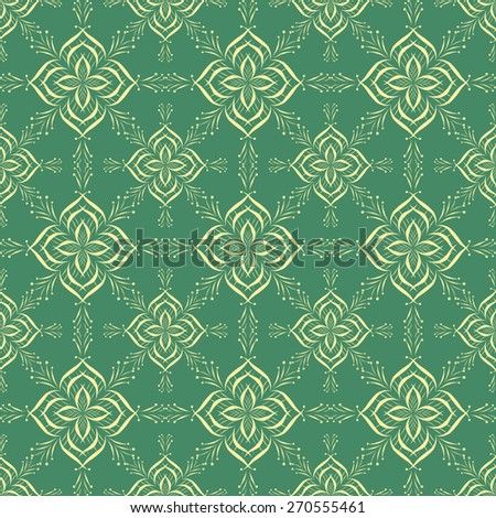 Vintage seamless pattern with hand drawn ornaments, green background, abstract print